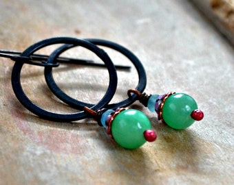 Copper ring earrings, fun colorful beads, rustic earrings, rustic jewelry, black patina - Carnival