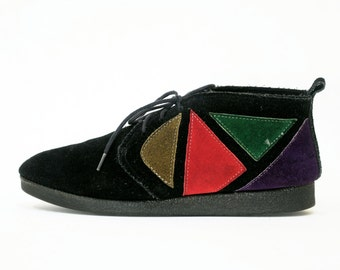 Geometric Stained Glass Black Suede Desert Booties w Gummy Soles 6