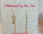14kt Gold Filled Dangle Earrings with Labradorite, Natural Itailian Coral, and Chain Dangle with Gold Seashell Charm