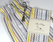 Travel Shoe Bags, Stripe, Gray, Yellow, drawstring bags, lingerie, shoe storage