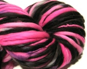 Handspun Yarn Boogie Nights 116 yards hot pink black yarn hand dyed merino wool waldorf doll hair knitting supplies crochet supplies
