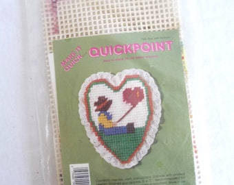 Vintage Quickpoint Kit, Sewing Kit, Vintage 1987, Boy with Balloon, Vintage Needlepoint, Sewing Supplies, Sewing Pattern, New, Gift Idea
