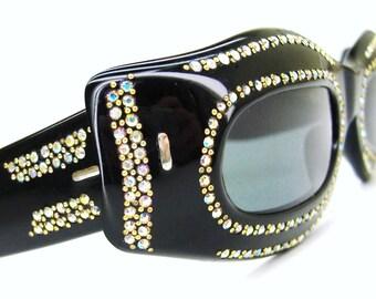 Vintage French Rhinestone Cat eye Glasses Sunglasses NOS