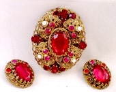 Red Rhinestone Pin Set From West Germany - Vintage