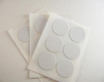 envelope seals - white round glitter stickers