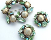 REGENCY Vintage Jewelry Set, Mint Green Rhinestone Brooch  Earrings Glass Baroque Pearl Sky Blue Party Bridal Costume Jewelry