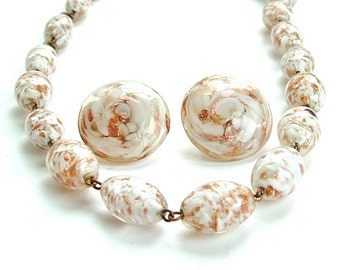 Murano Venetian Italian Glass Bead Necklace Earring Handmade Jewelry Set, Vintage Swirls of Winter White and Copper Glitter