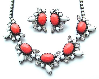 Vintage Statement Necklace Milk Glass White Orange Rhinestone Faux Stone Jewelry Set