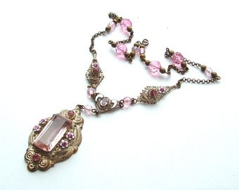 Antique Jewelry Victorian Pink Rose Pastel Glass Stone Enamel Rhinestone Necklace Flowers and Pink Faceted Beads