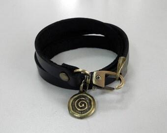 Leather Bracelet Leather Wrap Bracelet Black Color with Metal Spiral Coin Charm