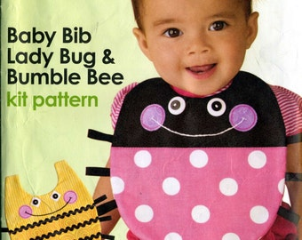 Simplicity Lady Bug and Bumble Bee  Baby Bib Sewing Pattern Kit
