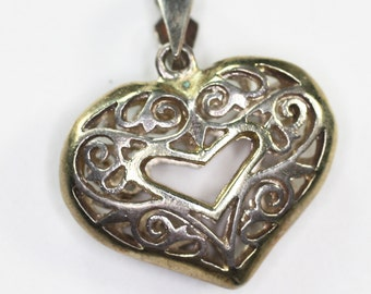 Sterling Filigree Heart Pendant Necklace Vintage