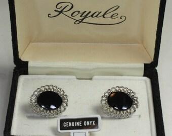 Black Onyx Cuff Links Dante Original Box Vintage Cufflinks Wedding Formal Gift for Him