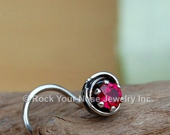 Ruby Nose Stud / Silver Nose Screw / All Tangled Up with Rubies Sterling Silver - CUSTOMIZE