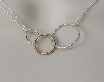 Single Gold Ring Sterling Silver Necklace, Jewelry Gifts, Minimal and Modern, dainty necklace