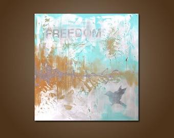 freedom sign - 24 x 24, acrylic art PAINTING, contemporary earthy horse farm nature modern art