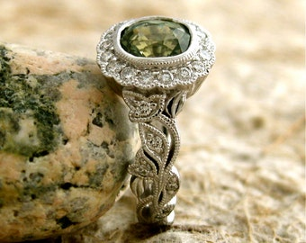 Olive Green Sapphire Engagement Ring in 14K White Gold with Diamonds in Halo & Flower Buds with Antiquing Size 5
