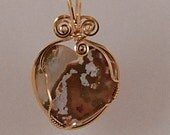 Heart pendant, Ocean Jasper, 14k Gold Filled wire wrap - P271