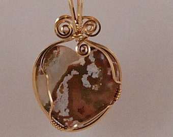 Heart pendant, Ocean Jasper, 14k Gold Filled wire wrap - P271