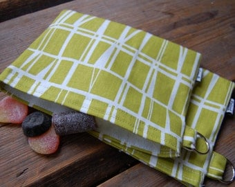 Geometric Chartreuse and White Snack, Passport,  Make up, toiletry pouch bag, purse, Finland