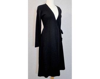 1970s Clovis Ruffin Knit Black Ruffinknit Vintage Wrap Dress Size 10
