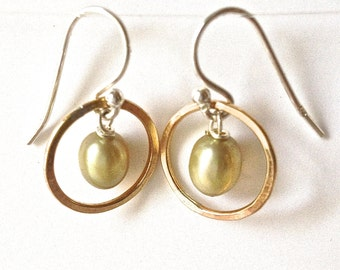 Mixed Metal Hoops with Natural Pearls