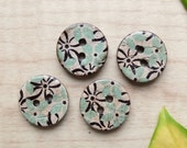 4PCS Natural Coconut Buttons - Retro Green Black Flower Floral (4PCS, D=1.5cm)