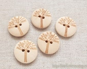 5PCS Wooden Buttons - Natural Lovely Carved Little Trees (5PCS, D=2CM)