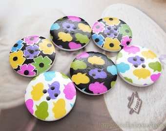 Wooden Buttons - Fashion French Style Geometric Chic Colourful Clouds Flowers, Choose Pattern(4 in a set, D3CM)