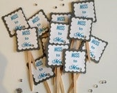 Miss to Mrs Cupcake Toppers - Bridal Shower Toppers - Ready to Ship Today - QTY 24