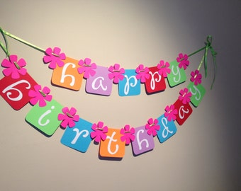 Rainbow Wishes Happy Birthday Party Banner - Ready to Ship