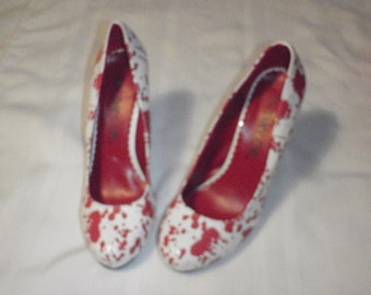 Shoes White and Blood Size 8 and 1/2 for Nurses on Halloween Night