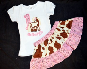 Cowgirl Horse Skirt and Personalized Shirt Outfit For Toddler Girls