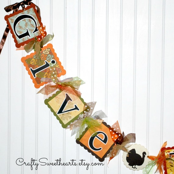 THANKSGIVING Banner GIVE THANKS Fall Decoration Party Sign Holiday Decor