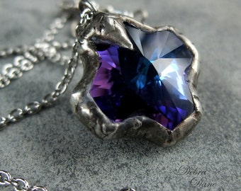 Purple Sapphire Cross Necklace, Swarovski Cross Necklace, Rustic Cross Necklace, Rocker Jewelry, Biker Necklace, Cowgirl Necklace
