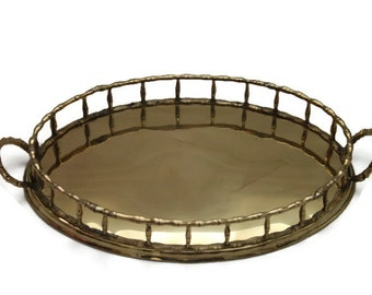 Vintage Brass Faux Bamboo Hollywood Regency Oval Serving Tray