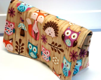 Coupon Organizer Wallet / Budget Organizer Holder- Attaches to your Shopping Cart -  Woodland Critters Fox - Hedgehog - Owl