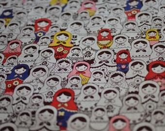Colorful matryoshka Russian doll fabric from Japan Kokka - half yard