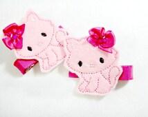 Pink Bow Kitty Cat Kitten Felt  Hair Clip