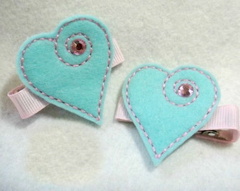 Elegant Heart  Valentine Love Felt  Hair Clip