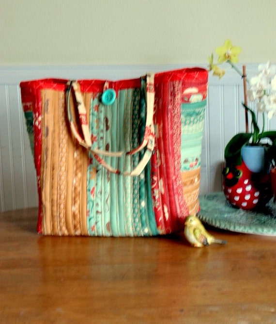 Large Jelly Roll Strip Quilted Colorful Tote Bag