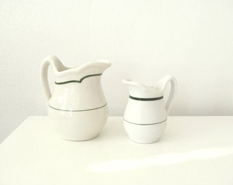 Vintage Creamers . Two Small Pitchers . White and Green Stripe . Diner China .