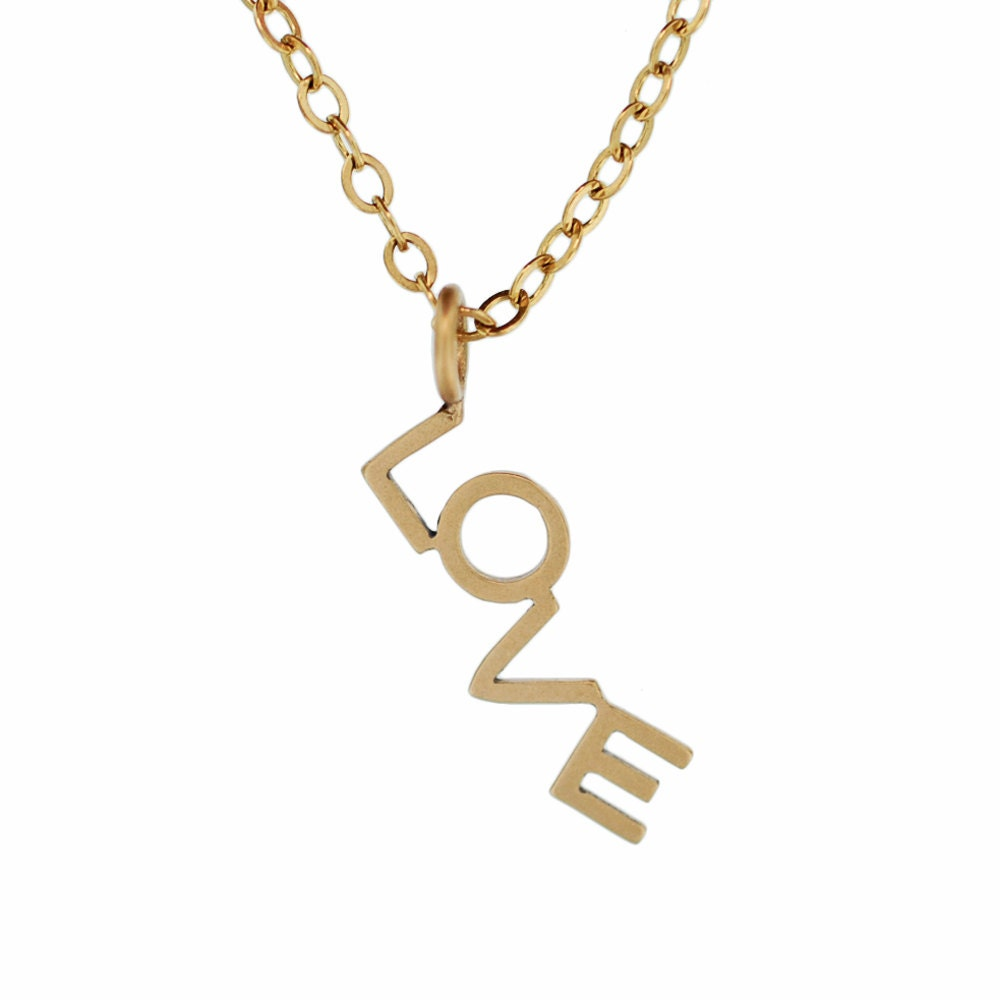 Love word necklace custom gold 14k hand formed name charm for Just my style personalized jewelry studio