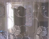 White Rose Floral Lace Curtain Panel with Variegated Hem 80 long