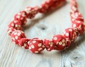 Red winter berry organic cotton nursing / babywearing necklace - wooden beads and organic cotton - Free Shipping