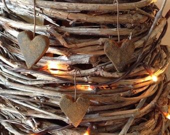 Mini Blackened Beeswax Heart Ornies  #110