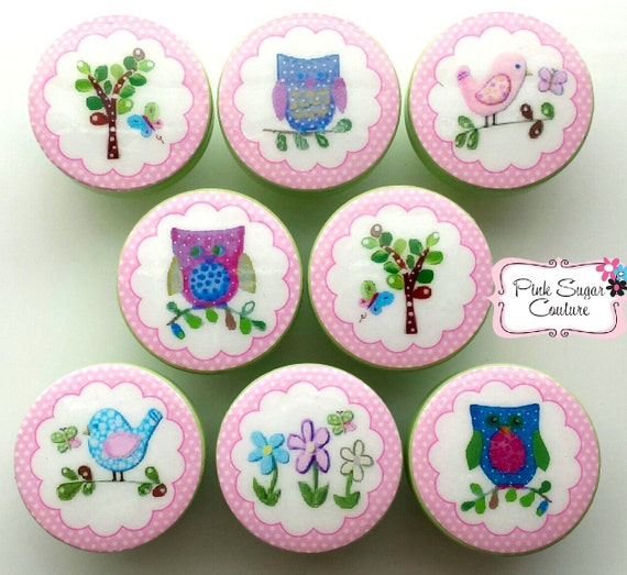 HAYLEY knobs Made to Match bedding woodland Kids Nursery Room drawer pulls girls owl tree bird ... so cute