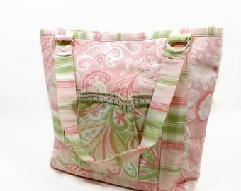 Shabby Chic Pink Paisley Tote Handbag Celery Green Pink White