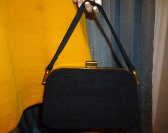 Vintage 30's or 40's - Hollywood Regency - Black - Decorative Cord -  Brass Metal Frame Hardware - Handbag