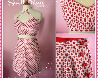 Swell Dame 1950s style women high waisted harlequin shorts and suntop AVAILABLE IN 2 COLORS